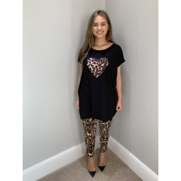 Lucy Cobb Oversized Leopard Heart T Shirt - Black