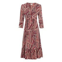 Jolie Moi Twist Front Midi Ruffle Dress in Taupe Stripe