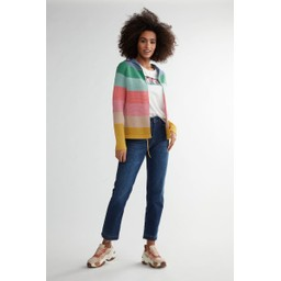 Oui Block Striped Hoodie  - Multicoloured