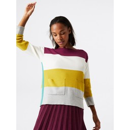White Stuff Orchard Colourblock Jumper - Purple