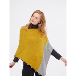 White Stuff Penelope Colour Block Poncho - Chartreuse