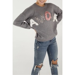 Lucy Cobb Embellished Amour Jumper - Grey
