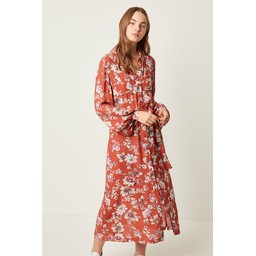 French Connection Aletta Crepe Floral Midi Shirt Dress - Burnt Orange