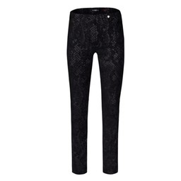Robell Trousers Rose Snake in Suede Trousers  - Black