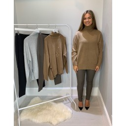 French Connection River Vhari High Neck Jumper - Camel