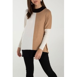 Lucy Cobb Block Funnel Neck Jumper - Camel