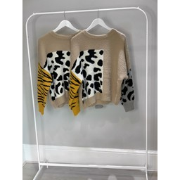 Lucy Cobb Animal Print Jumper - Beige