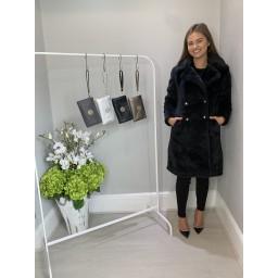 Lucy Cobb Faye Faux Fur Button Front Coat - Black