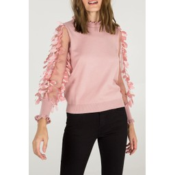 Lucy Cobb Leaf Mesh Sleeve High Neck jumper - Pink