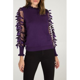 Lucy Cobb Leaf Mesh Sleeve High Neck jumper - Purple