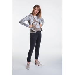 Oui Chain Print Fine Knit Jumper - Camel