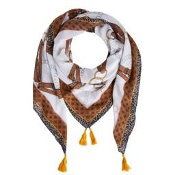 Oui Chain Print Scarf - Camel