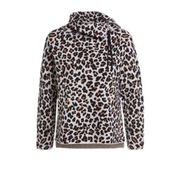 Oui Animal Print Zip High Neck Jumper - Animal Print