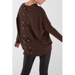 Lucy Cobb Criss-Cross Back Jumper in Chocolate