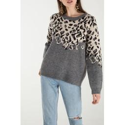 Lucy Cobb Leah Leopard Print Jumper - Grey