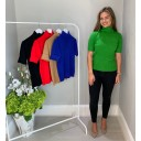 Carla Cable Knit Polo - Apple Green