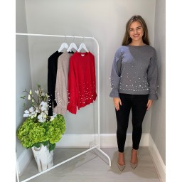 Lucy Cobb Pearl Detail Jumper - Grey