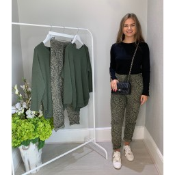Lucy Cobb Leopard CrinkleJoggers in Khaki