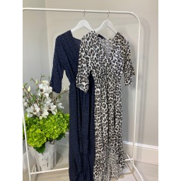 Lucy Cobb Animal Print Dip Hem Dress - Light Grey