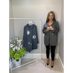 Lucy Cobb Sequin Star Longline Jacket - Dark Grey