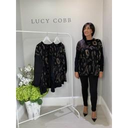 Lucy Cobb Leopard Diamante Detail Jumper - Black