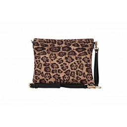 Malissa J Leopard Diamante Clutch Bag - Beige