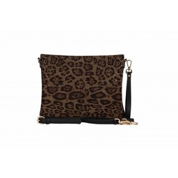 Malissa J Leopard Diamante Clutch Bag - Khaki