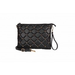 Malissa J Stud Quilted Clutch Bag - Black