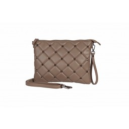 Malissa J Stud Quilted Clutch Bag in Taupe