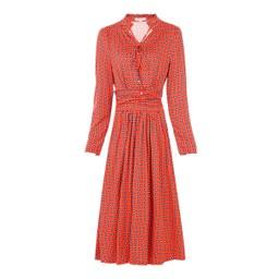 Jolie Moi Tie Neck Midi Dress - Red Mix