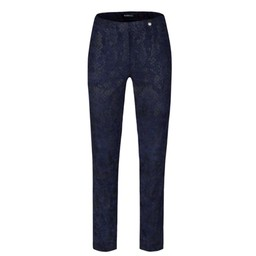 Robell Trousers Marie Snake in Suede Trousers - Navy