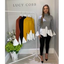 Lucy Cobb High Neck Jumper With Shirt - Grey
