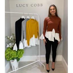 Lucy Cobb High Neck Jumper With Shirt - Rust