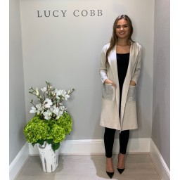 Lucy Cobb Sparkle Pocket Hooded Coatigan in Stone