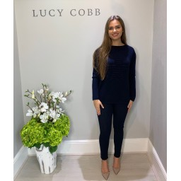 Lucy Cobb Super Soft Luxury Star Jumper in Navy