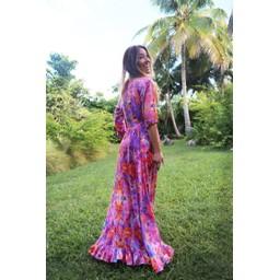 Sophia Alexia Ruffle Wrap Dress Short - Pink Fire