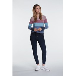 Oui Colourful Block Stripe Jumper - Blue Mix