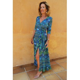 Sophia Alexia Ruffle Wrap Dress Long in Blue Iguana