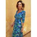 Ruffle Wrap Dress Long - Blue Iguana - Alternative 1