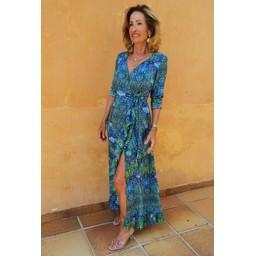 Sophia Alexia Ruffle Wrap Dress Short - Blue Iguana