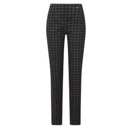 Robell Trousers Marie Dogtooth Check Trousers in Taupe