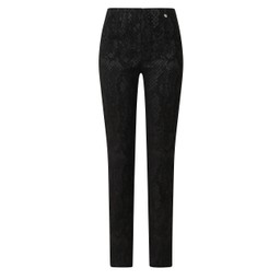 Robell Trousers Marie Snake in Suede Trousers - Black