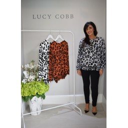 Lucy Cobb Alicia Animal Print Jumper - Grey