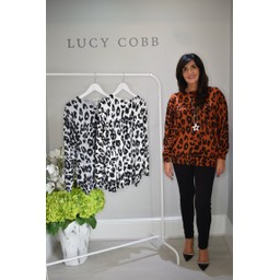 Lucy Cobb Alicia Animal Print Jumper in Rust