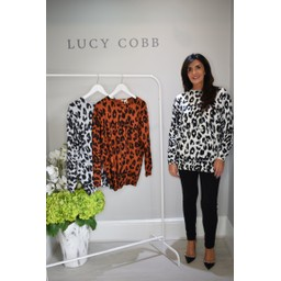 Lucy Cobb Alicia Animal Print Jumper - White
