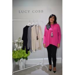 Lucy Cobb Rae Reverse Seam Jumper - Fuchsia