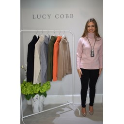 Lucy Cobb Ruby Roll Neck Jumper  - Blush Pink