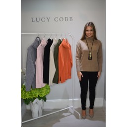Lucy Cobb Ruby Roll Neck Jumper  in Camel