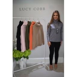 Lucy Cobb Ruby Roll Neck Jumper  - Dark Grey