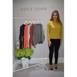 Lucy Cobb Gilly Glitter Print Jumper  - Mustard